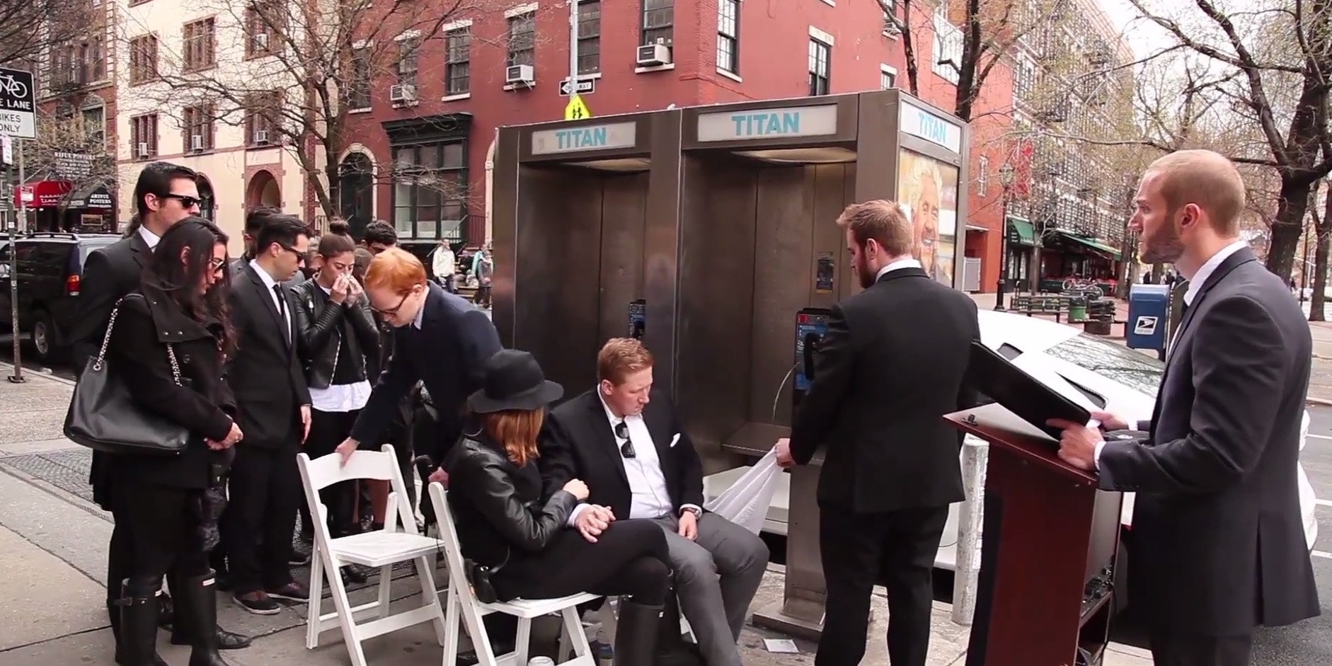 Nick Smatt hosts a pay phone funeral in New York City