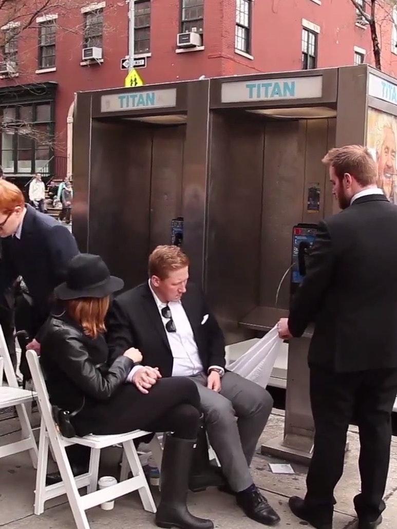 Nick Smatt hosts a pay phone funeral in New York City