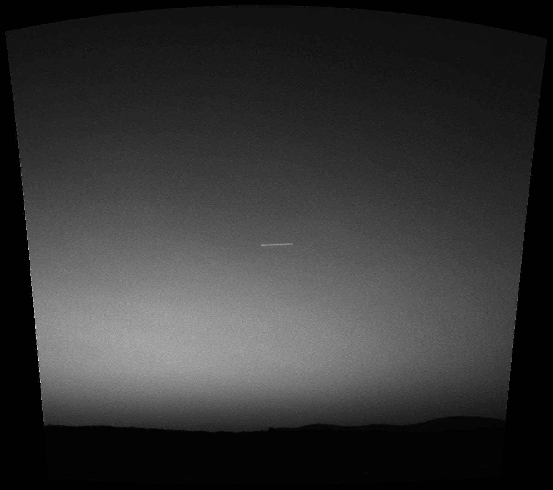 The first meteor photographed on Mars, taken by Mars rover Spirit on March 7, 2004 (Sol 63), at 04:50:19 local time (LST), with an exposure time of 15 seconds