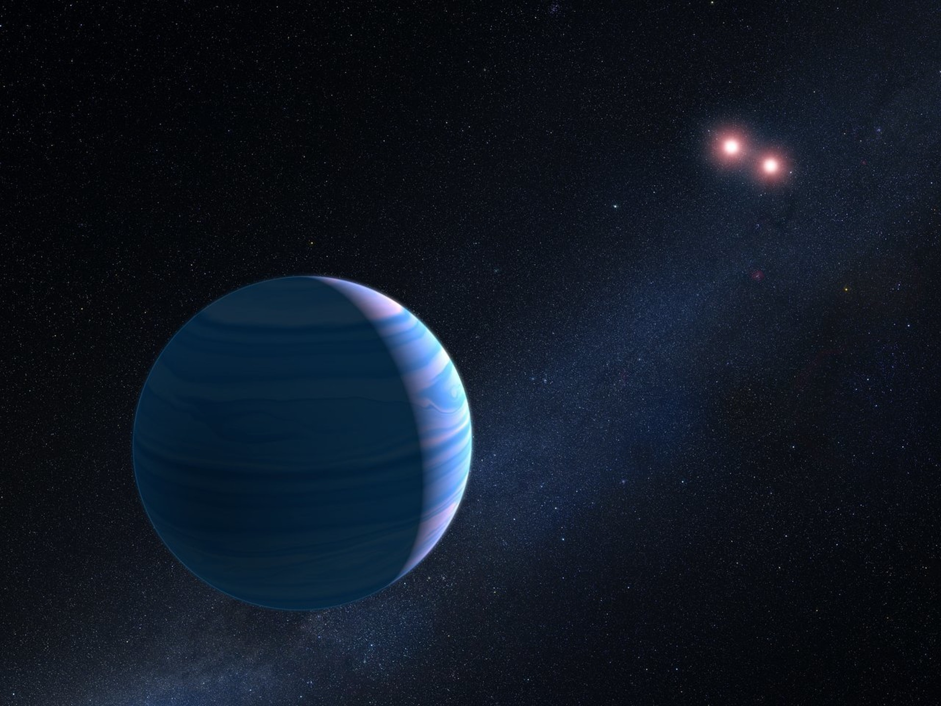 An artist's depiction of the new planet and its twin suns.