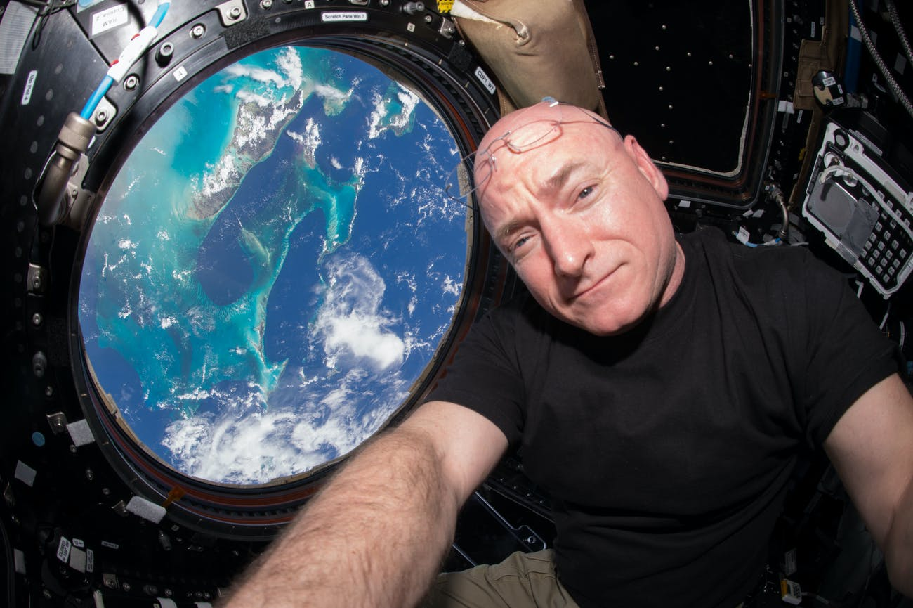 Scott Kelly seen inside the Cupola.