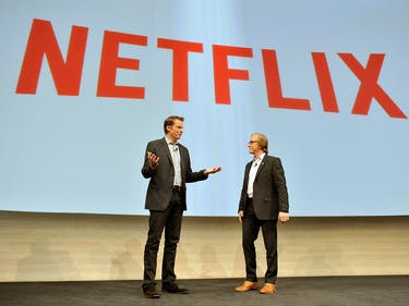 LAS VEGAS, NV - JANUARY 05: Netflix Chief Streaming and Partnerships Officer Greg Peters (L) and Sony Electronics President and Chief Executive Officer Mike Fasulo (R) speak Sony at a press event at the Las Vegas Convention Center for the 2015 International CES on January 5, 2015 in Las Vegas, Nevada. CES, the world's largest annual consumer technology trade show, runs from January 6-9 and is expected to feature 3,600 exhibitors showing off their latest products and services to about 150,000 attendees. (Photo by David Becker/Getty Images)