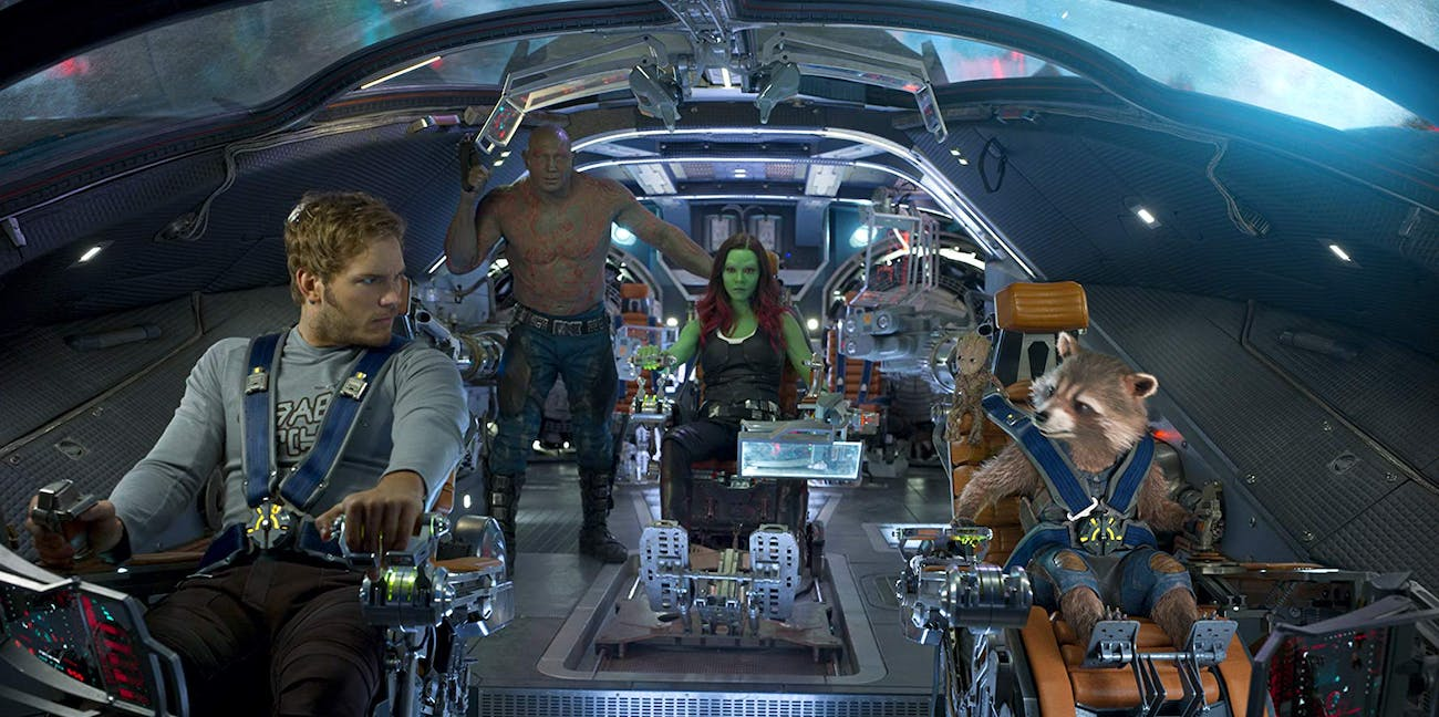 Chris Pratt, Dave Bautista, Zoe Saldana, Vin Diesel, and Bradley Cooper in Guardians of the Galaxy Vol. 2