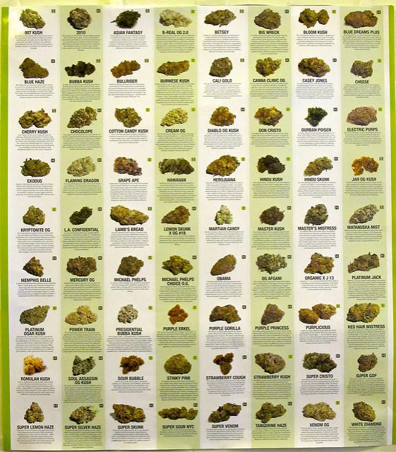 Different strains of marijuana.