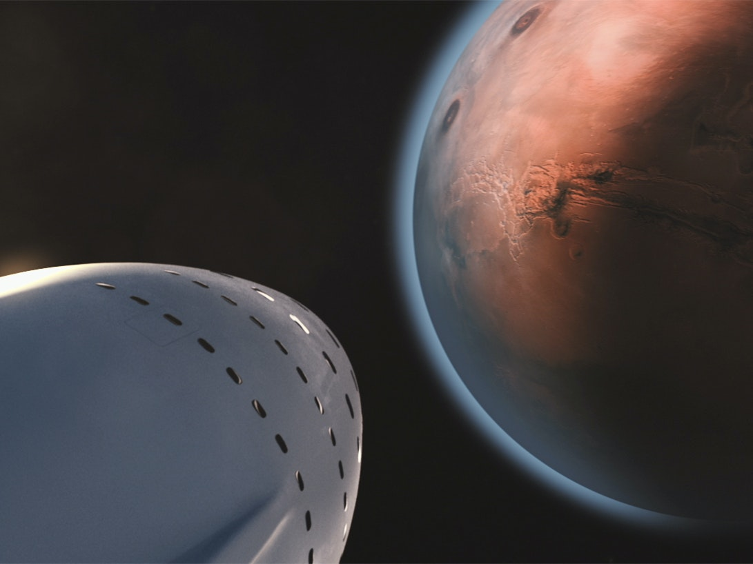 A rendering of the Interplanetary Transport System as it approaches Mars.