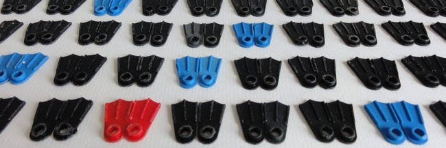 Lego flippers that washed up on the beaches of Southwest England