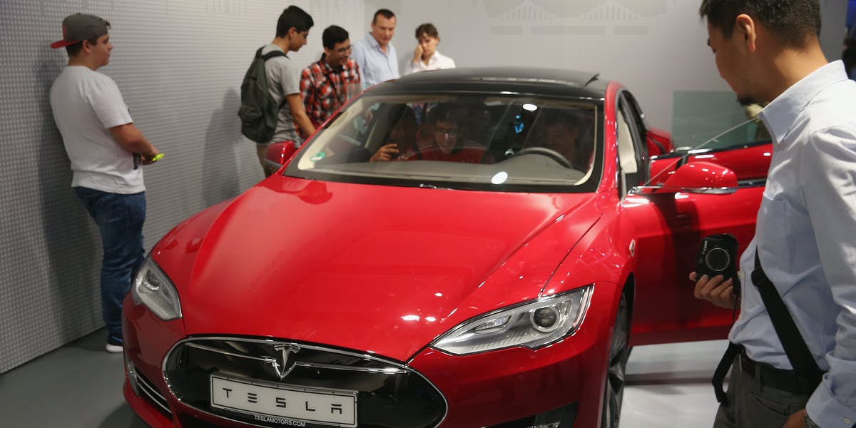 The Tesla Model S at the IFA trade show in 2014.