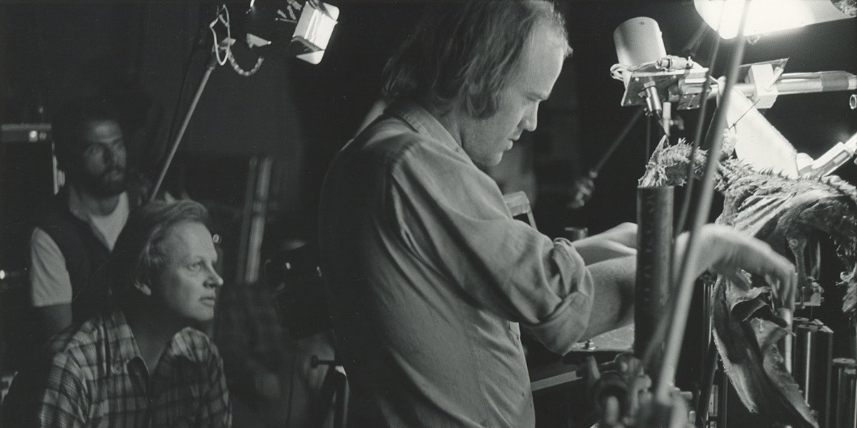Phil Tippett works on the go-motion animation for Dragonslayer.