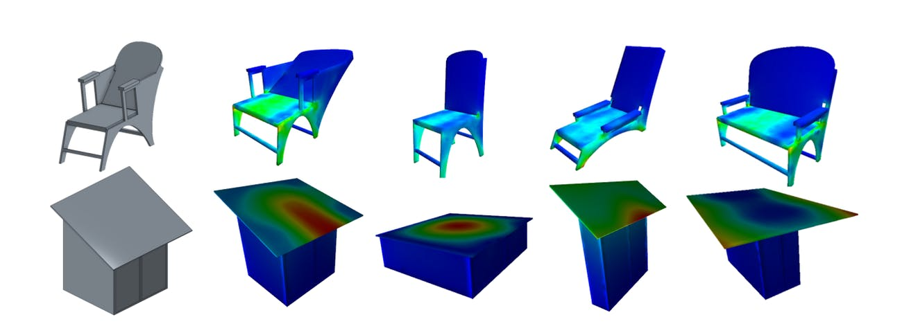 Stress distribution on different variations of the chair model (top) and elastic deformation on variations on the shed model (bottom)