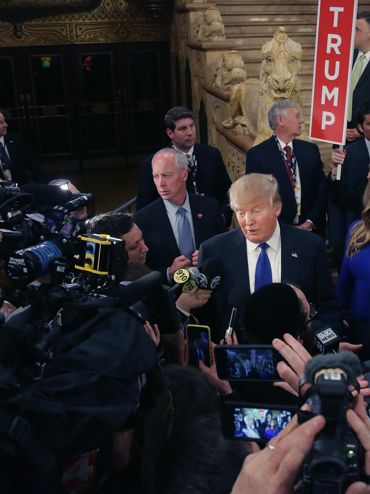 DETROIT, MI - MARCH 03:  Republican presidential candidate Donald Trump greets reporters in the spin room following a debate sponsored by Fox News at the Fox Theatre on March 3, 2016 in Detroit, Michigan. Voters in Michigan will go to the polls March 8 for the State's primary.  (Photo by Chip Somodevilla/Getty Images)