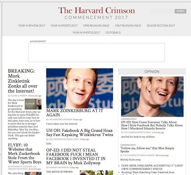 Harvard Crimson website hacked ahead of Mark Zuckerberg commencement speech.