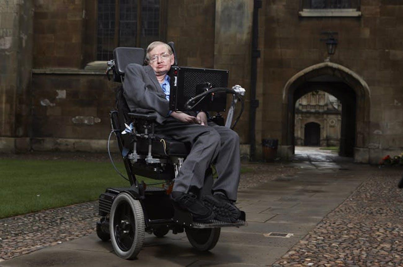 Hawking at the University of Cambridge.
