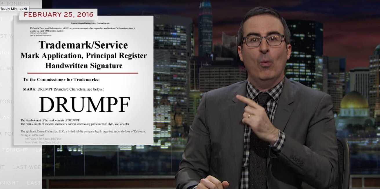 John Oliver is asking America to Make Donald Drumpf again.