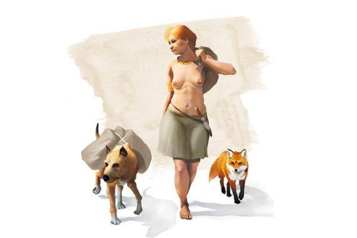 This artistic representation shows a Bronze Age human walking with a domesticated dog and fox. The dog, archaeological evidence suggests, carried loads.