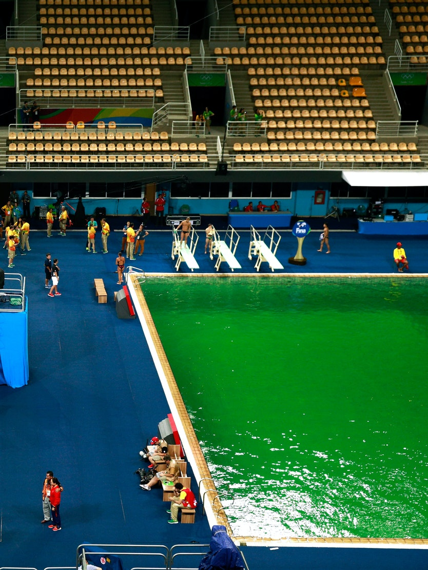 RIO DE JANEIRO, BRAZIL - AUGUST 09:  General view of the diving pool at Maria Lenk Aquatics Centre on Day 4 of the Rio 2016 Olympic Games at Maria Lenk Aquatics Centre on August 9, 2016 in Rio de Janeiro, Brazil.  (Photo by Adam Pretty/Getty Images)