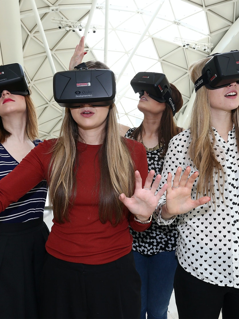Westfield introduces world first Oculus Rift Virtual Reality headsets ahead of 'Future Fashion' an immersive pop-up experience at Westfield London on March 12, 2015 in London, England.