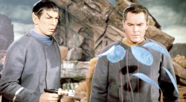 """Spock and Captain Pike in the """"The Cage'"""