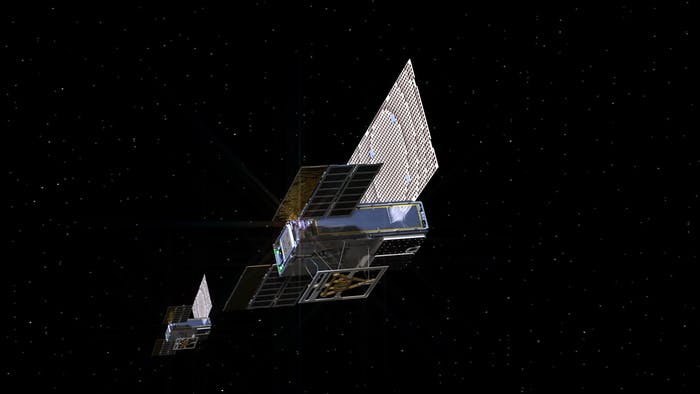 An artist's rendering of MarCOs, the cube sat that shot the photo of Earth released by NASA this week.