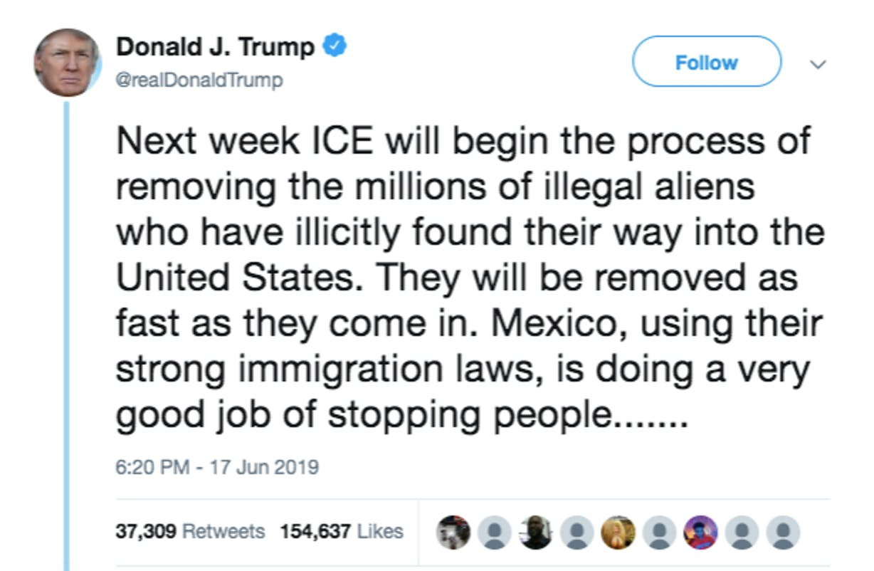 tweet, Trump, immigration