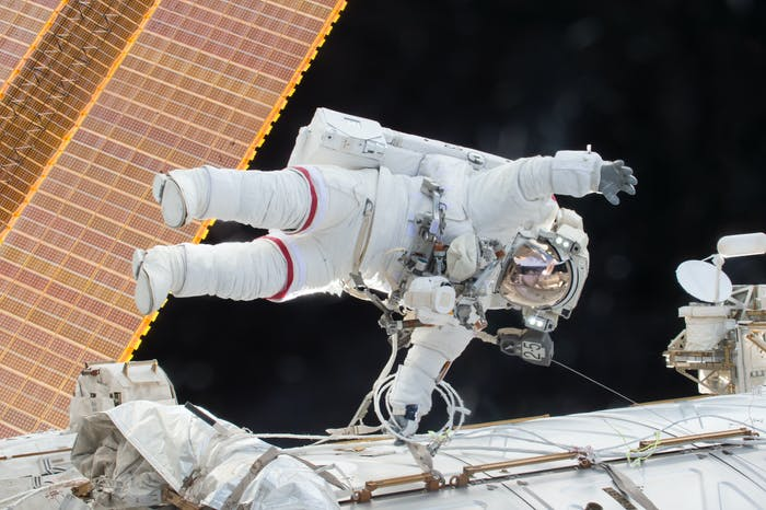 NASA astronaut Scott Kelly floats during a spacewalk on December 21, 2015.