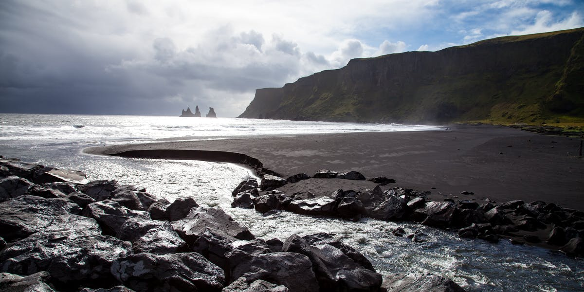 Black sand beach in Vík í Mýrdal, Iceland