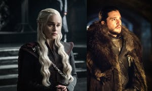 Emilia Clarke as Daenerys Targaryen and Kit Hartingon as Jon Snow in 'Game of Thrones' Season 7