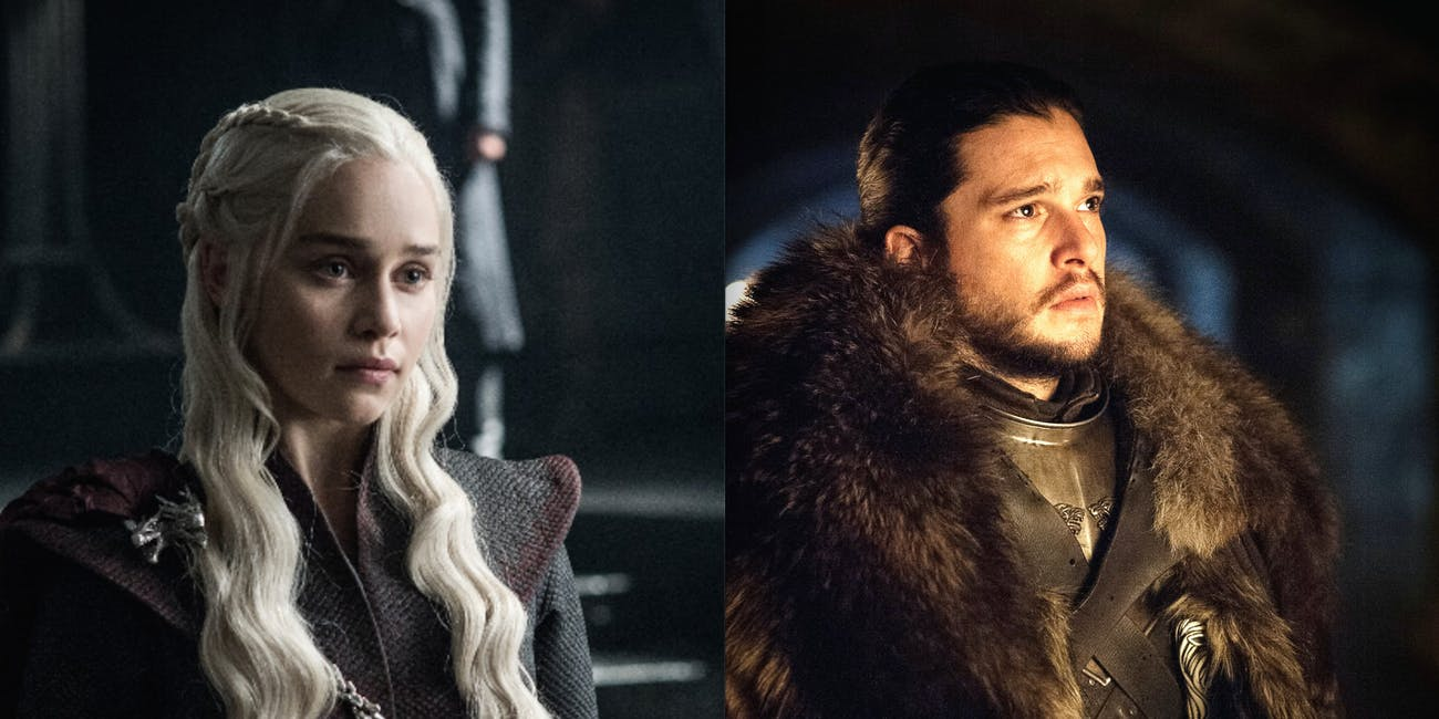 Emilia Clarke as Daenerys Targaryen and Kit Hartingon as Jon Snow in 'Game of Thrones' Season 7