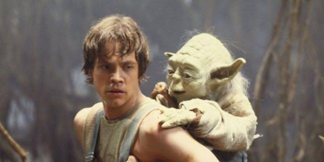 Luke Skywalker and Yoda in Star Wars: Episode V.