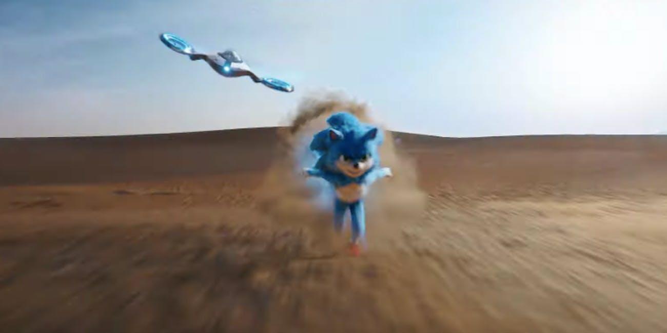 sonic movie trailer desert