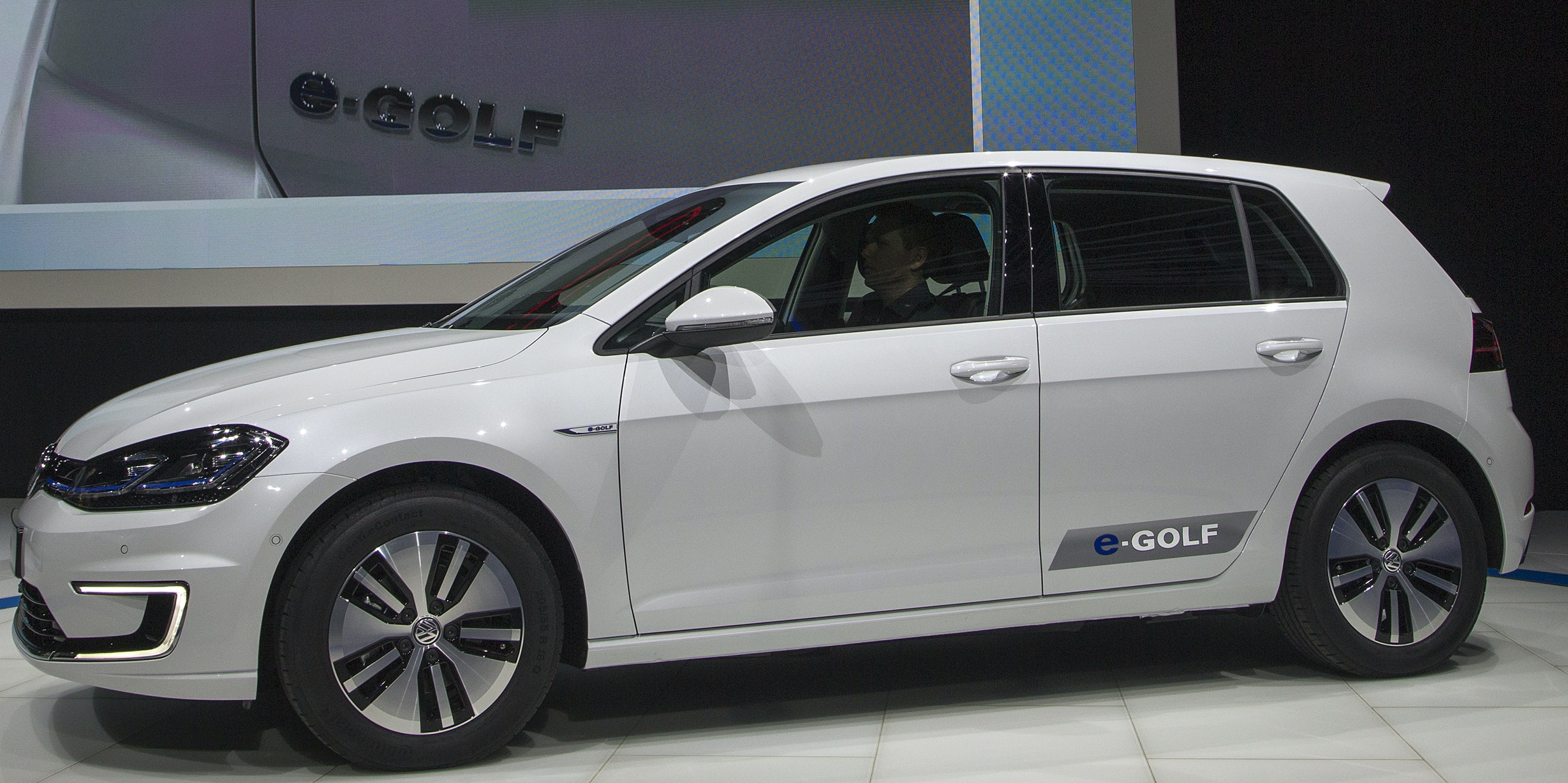 A Volkswagen e-Golf is presented during the four-day auto trade show AutoMobility LA at the Los Angeles Convention Center on November 17, 2016.