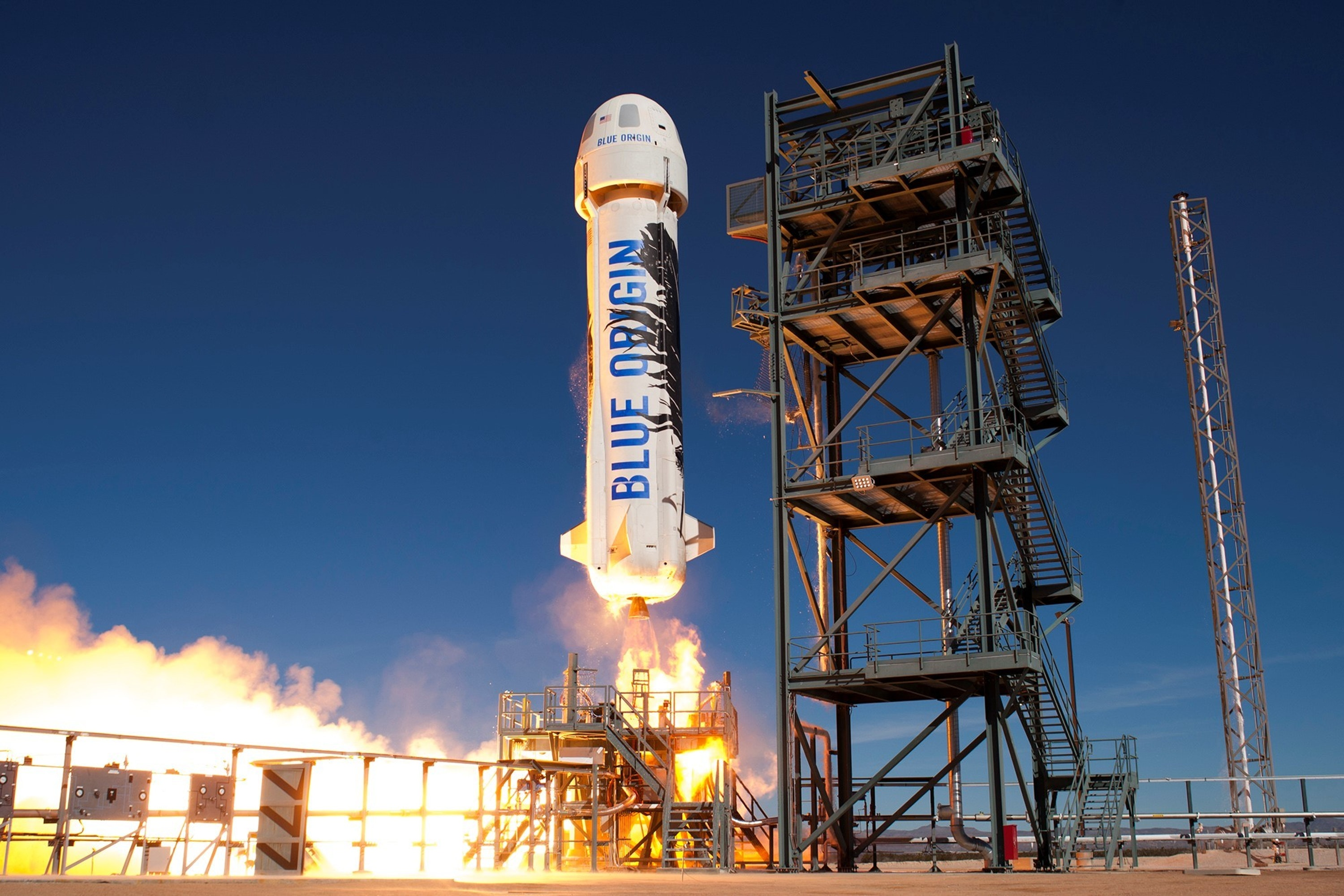 Blue Origin's New Shepard rocket with the crew capsule during an experimental test flight earlier this year.