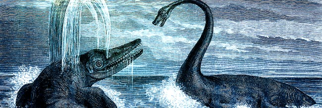 A 1863 painting of a Ichthyosaur and a plesiosaur fighting.