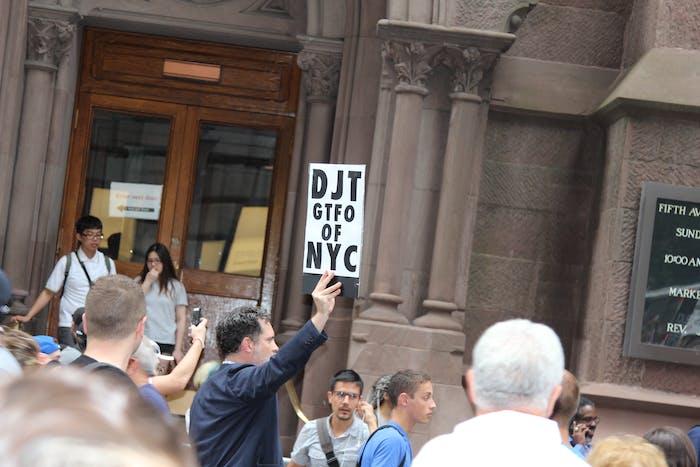 donald trump protest sign
