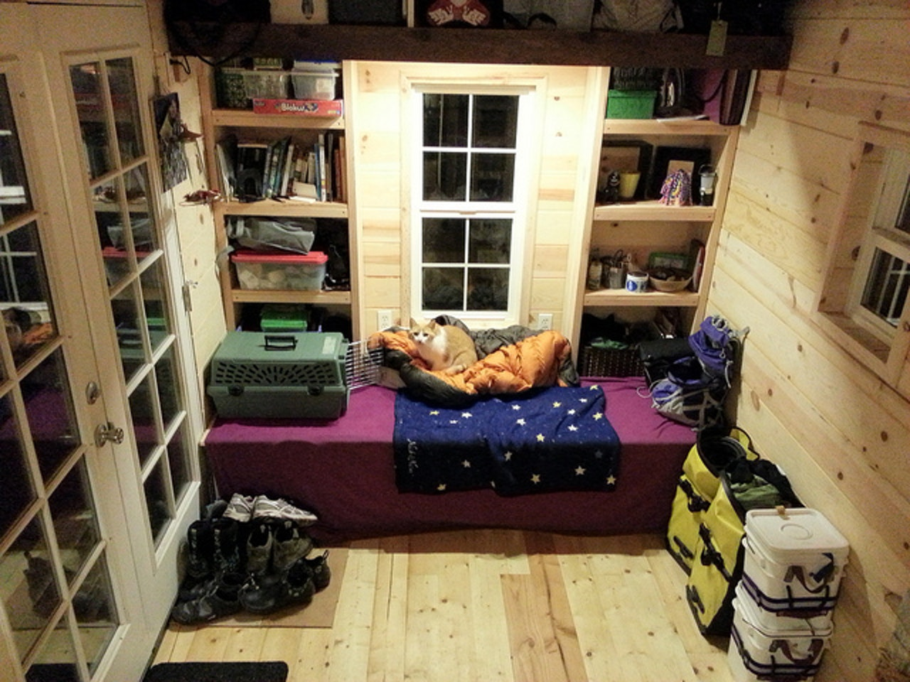 Inside a tiny house.