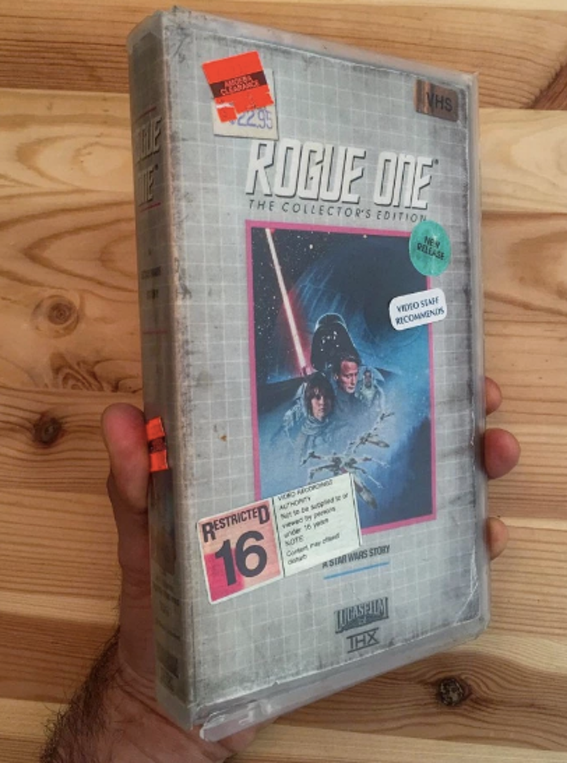 Steelburg's 'Rogue One' VHS, modeled on a VHS box for 90's 'Star Trek' tapes.