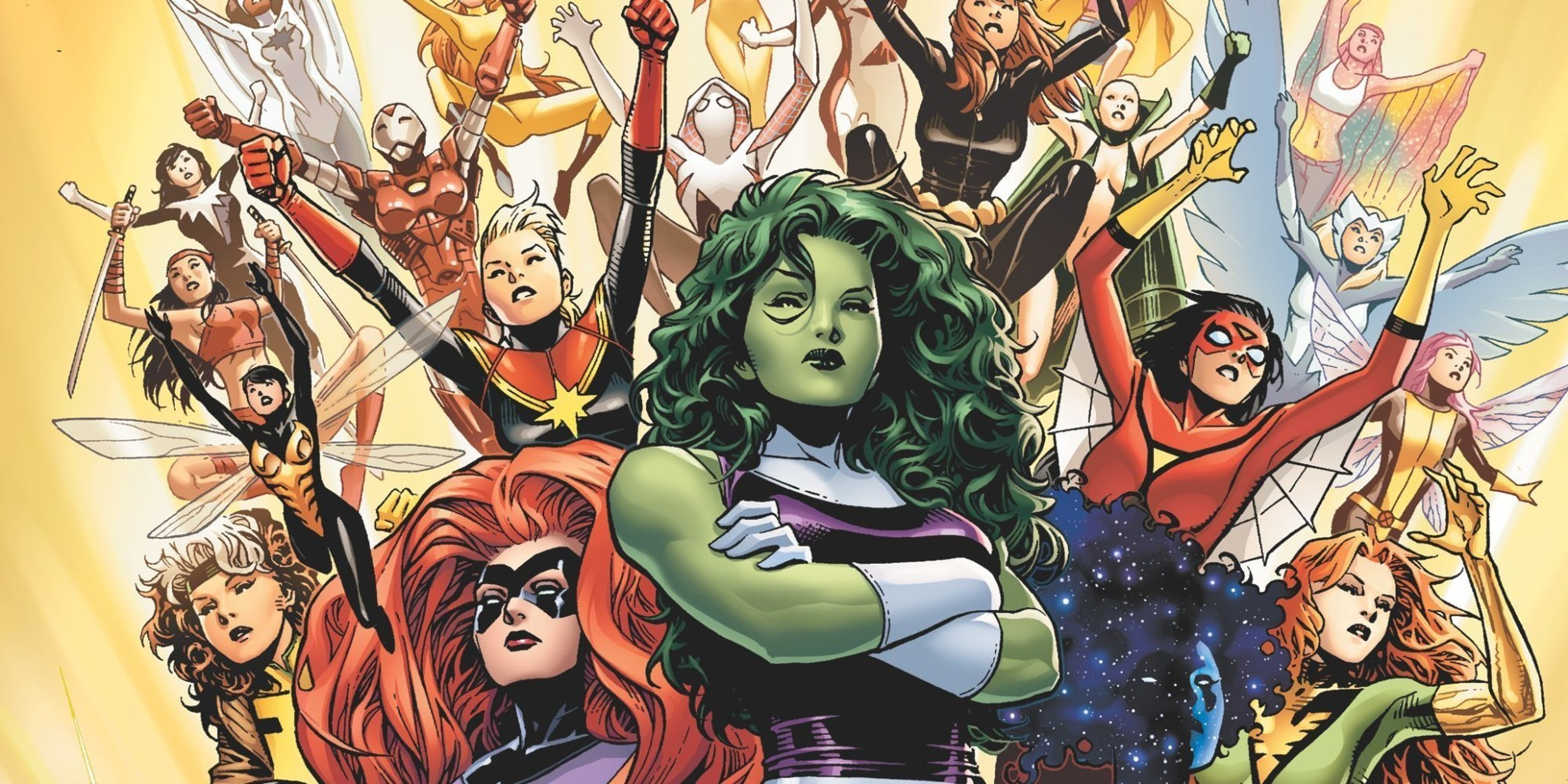 A few of the characters that make up Marvel's female superhero team, A-Force.
