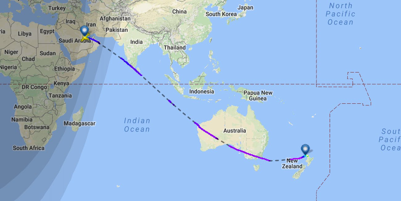 New Zealand Map On World.This Map Shows Qatar Airways New Zealand Route The World S Longest