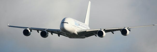An Airbus A380 takes off from Filton Runway on Febuary 1 2008 in Bristol, United Kingdom. Airbus were testing a new synthetic fuel on the passenger aircrafts flight to Toulouse in France.