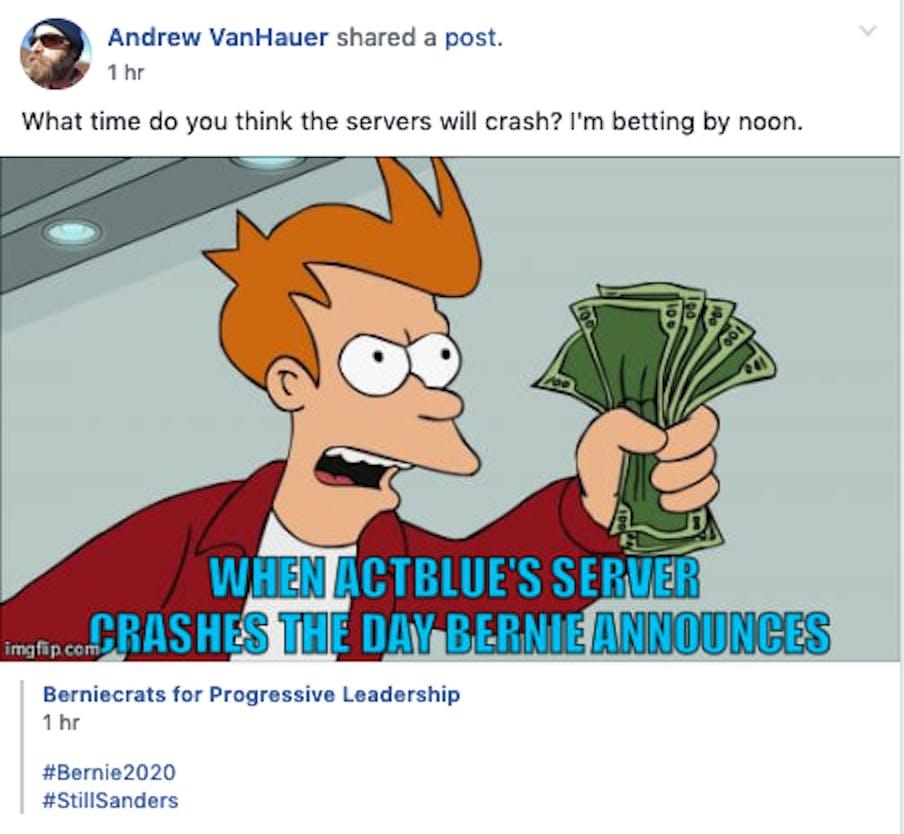 bernie sanders facebook memes 2020