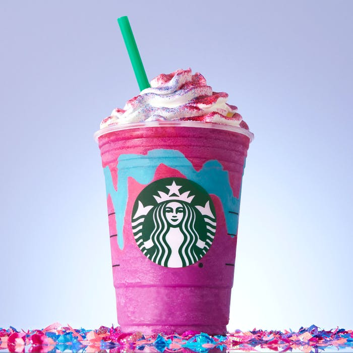 The Unicorn Frappuccino in all its colorful glory.
