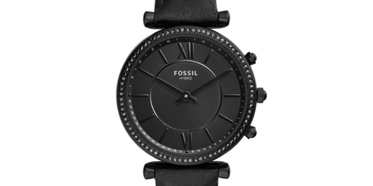 Fossil Women's Hybrid Smartwatch Stainless Steel Watch with Leather Strap