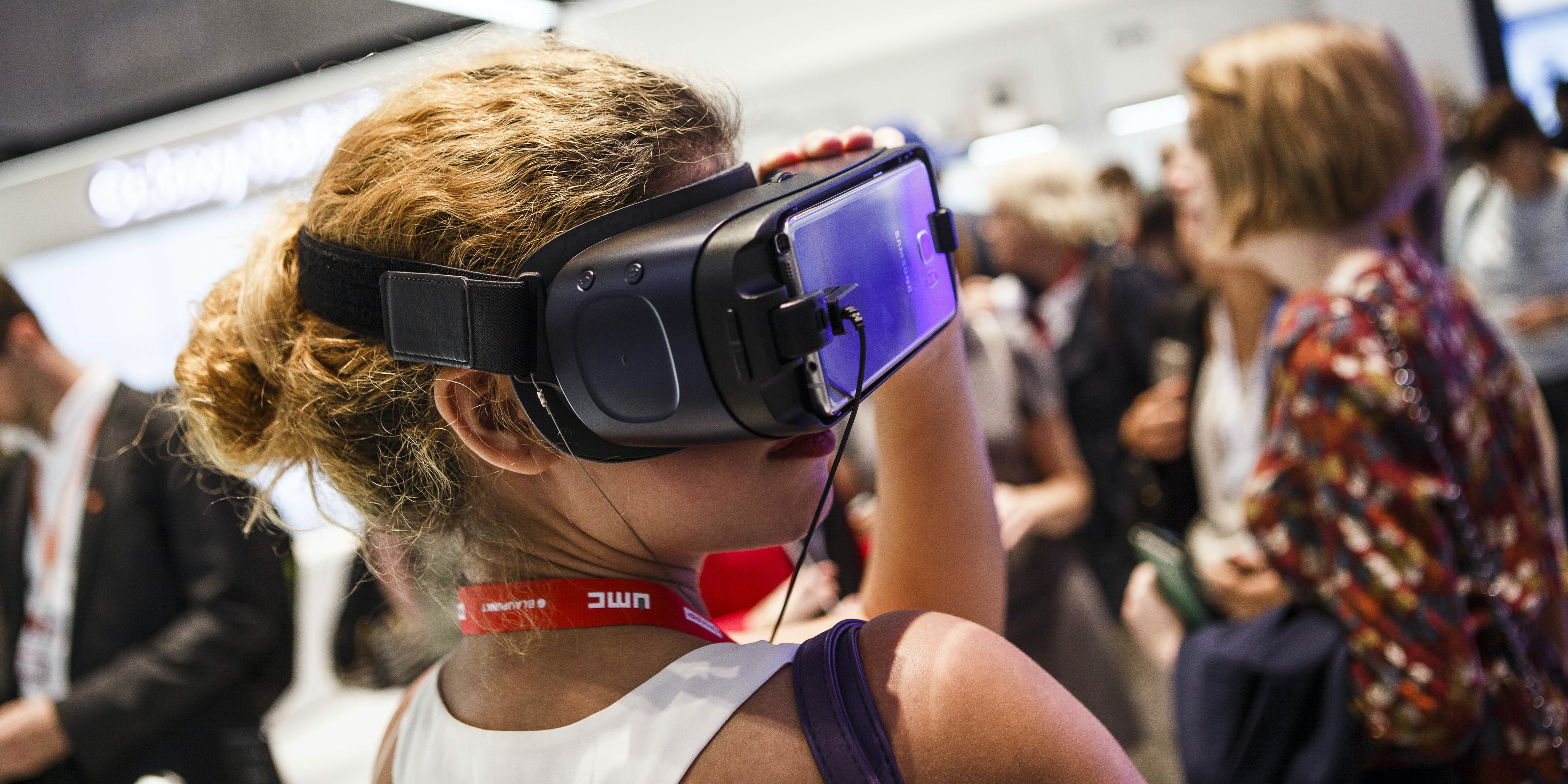 A visitor tries out virtual reality from Samsung at the 2016 IFA consumer electronics trade fair on September 2, 2016 in Berlin, Germany. IFA is among the world's largest trade fairs for consumer electronics and home appliances and runs from September 2-7. (Photo by Carsten Koall/Getty Images)