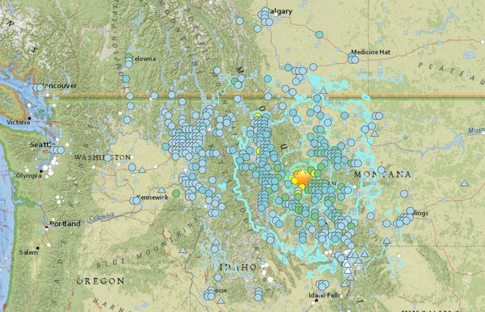 interactive map montana earthquake