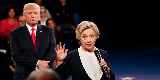 The body language of Donald Trump at the debate.