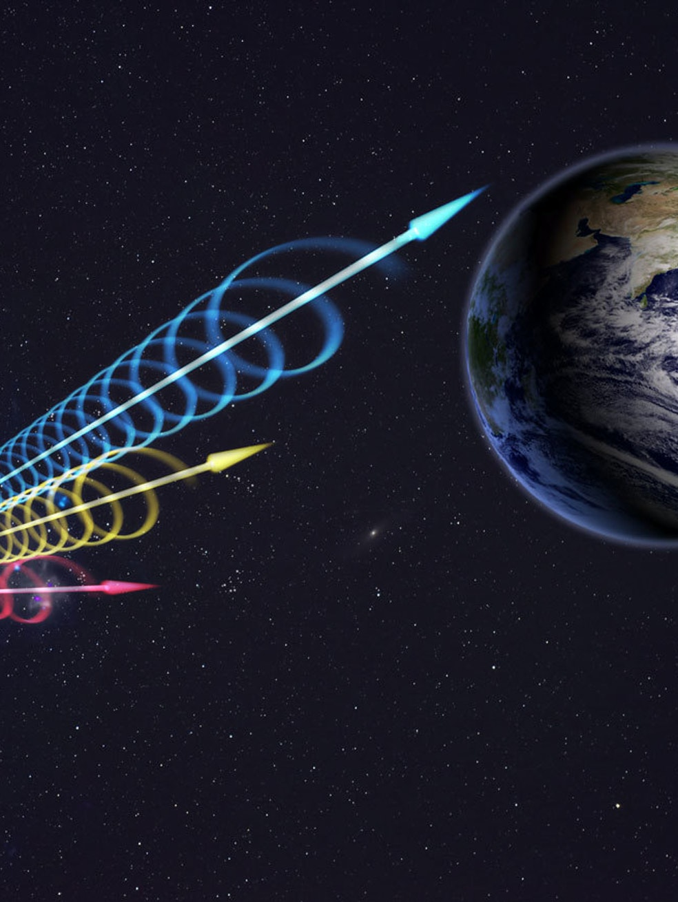 Artist impression of a Fast Radio Burst (FRB) reaching Earth. The colors represent the burst arriving at different radio wavelengths, with long wavelengths (red) arriving several seconds after short wavelengths (blue). This delay is called dispersion and occurs when radio waves travel through cosmic plasma.