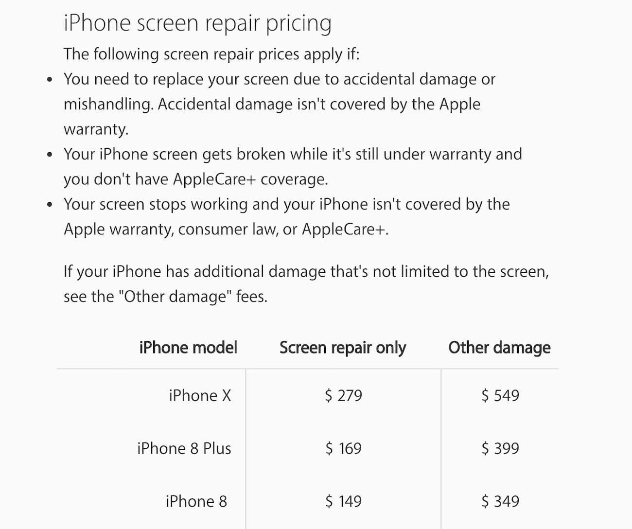apple phone repair pricing