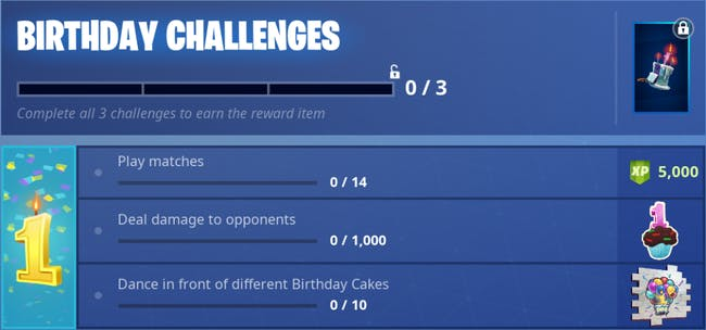 'Fortnite: Battle Royale' 1st Birthday Challenges and Rewards