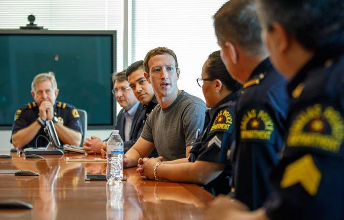 This is not Zuck in court on Tuesday. He was also in Dallas on his mission to meet with people in all 50 states this year.