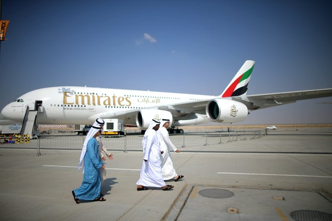An Emirates-branded Airbus A380.