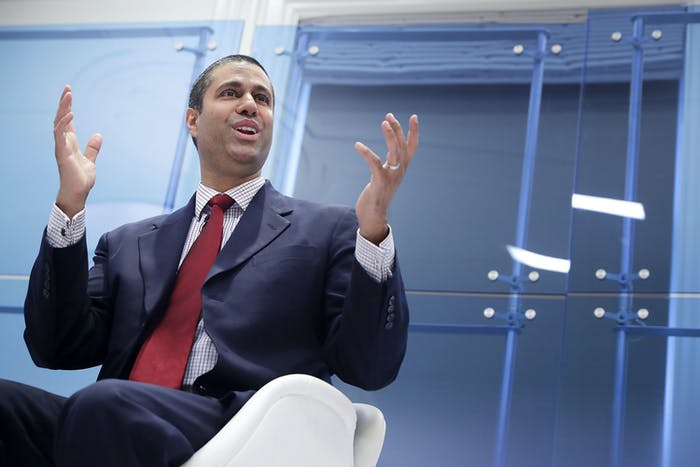 WASHINGTON, DC - MAY 05: Federal Communication Commission Chairman Ajit Pai participates in a discussion about his accomplishments at The American Enterprise Institute for Public Policy Research May 5, 2017 in Washington, DC. Appointed to the commission by President Barack Obama in 2012, Pai was elevated to the chairmanship of the FCC by U.S. President Donald Trump in January. (Photo by Chip Somodevilla/Getty Images)